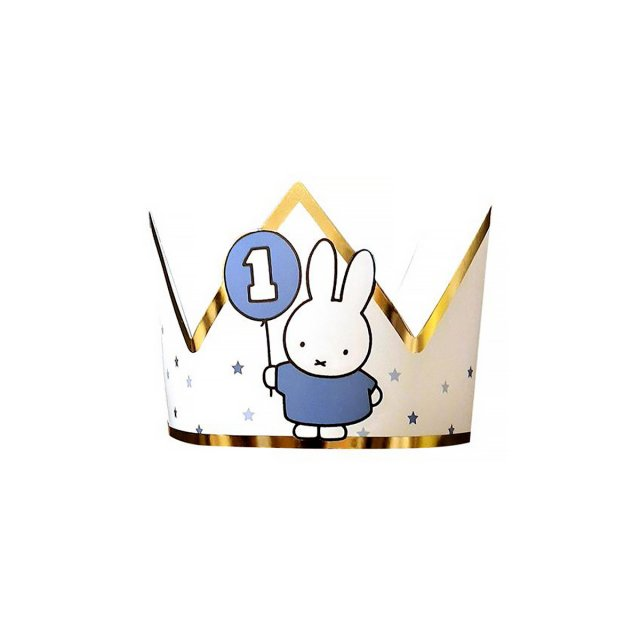 <img class='new_mark_img1' src='https://img.shop-pro.jp/img/new/icons14.gif' style='border:none;display:inline;margin:0px;padding:0px;width:auto;' />MIFFY FIRST BIRTHDAY ペーパークラウン BLUE 1枚入