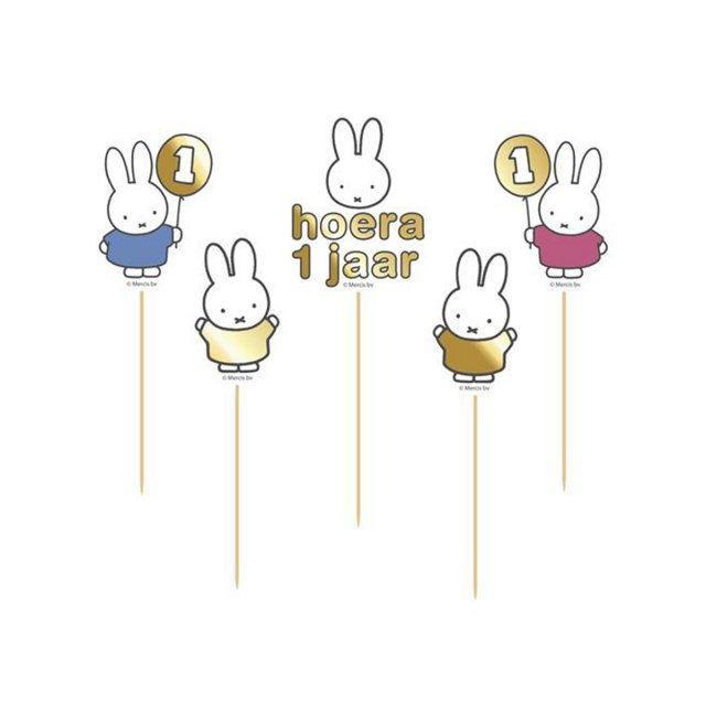 <img class='new_mark_img1' src='https://img.shop-pro.jp/img/new/icons14.gif' style='border:none;display:inline;margin:0px;padding:0px;width:auto;' />MIFFY FIRST BIRTHDAY ケーキトッパー 5本入