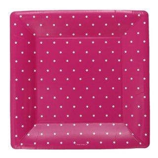 スクエアペーパープレート(大) |Polka dots Pink