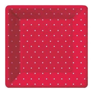 スクエアプレート(大)| polka dot Red