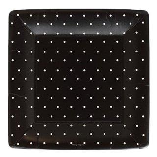 スクエアプレート(大) | Polka dots Black
