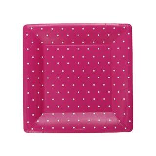 スクエアペーパープレート(小) | Polka dots Pink