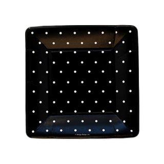 スクエアプレート(小) | Polka dots Black