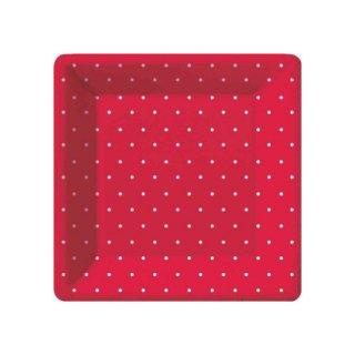 スクエアプレート(小)| Polka dots Red