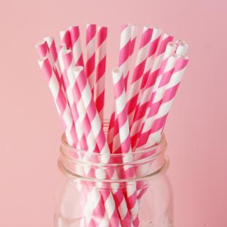 ぺーパーストロー(20本入) | Bubblegum Pink Stripe