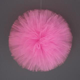 チュールポンポン ピンク
