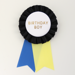 ロゼット BIRTHDAY BOY  Black/White/Yellow/Blue