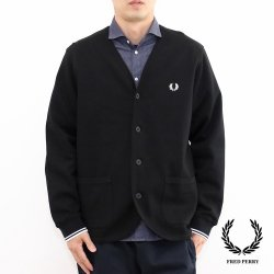 <img class='new_mark_img1' src='https://img.shop-pro.jp/img/new/icons14.gif' style='border:none;display:inline;margin:0px;padding:0px;width:auto;' />Fred Perry(フレッドペリー) Pique Cardigan(ピケカーディガン) BLACK