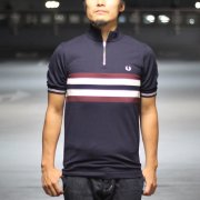 FREDPERRY(フレッドペリー) Bradley Wiggins(ブラッドリー・ウィギンス) Bomber Stripe Shirt   NAVY[セール]