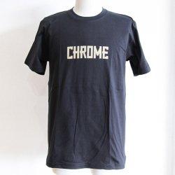 CHROME(クローム)  DISTRESSED TEXT TEE(ディストレスドテキスト)   BLACK
