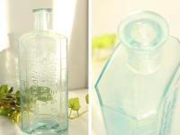 イギリスアンティーク 古いガラス瓶/ボトル/一輪差し/花瓶/花器(a0400031-31)