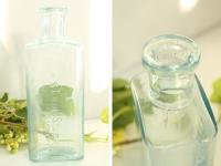イギリスアンティーク 古いガラス瓶/ボトル/一輪差し/花瓶/花器(a0400031-32)