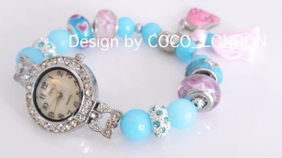 【シルバーホールビーズ使用】タッセルが可愛い水色のパワーストーン天然石腕時計