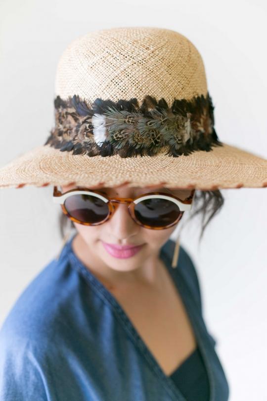 CATARZI Feather×Straw Hat