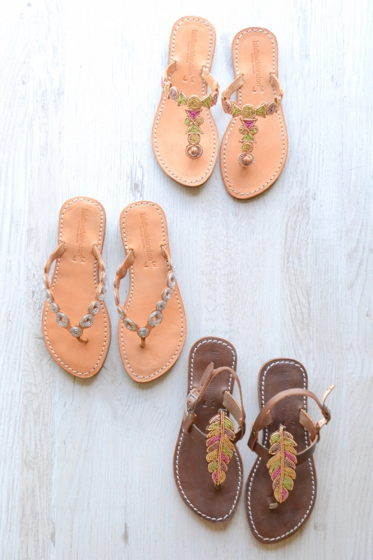 Laidback london ethnic leather thong sandals