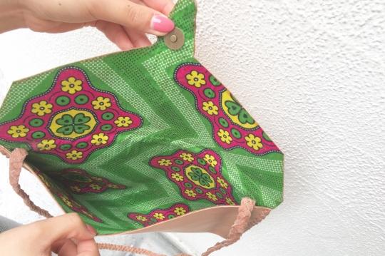 Laidback London leather×fether shoulder bag
