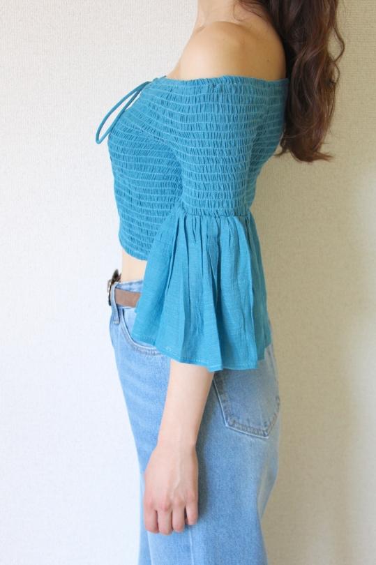 FlyingTomato turquoise off-shoulder TOPS