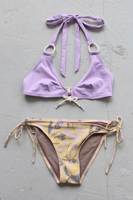 TATIANE DE FREITAS purple tops × yellow shorts bikini