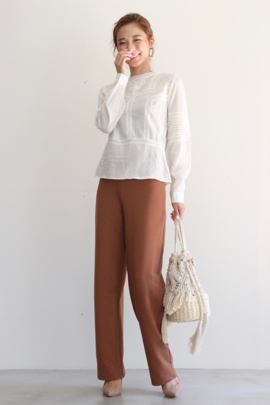 indi&cold  embroidery white blouse