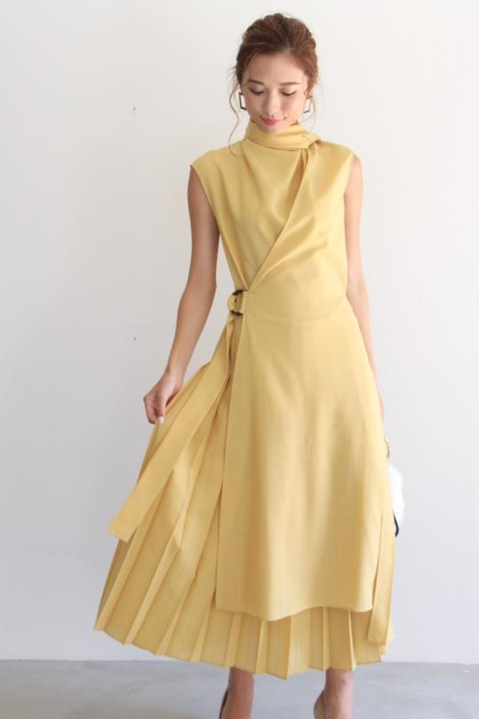 ALYSI asymmetry sleevless yellow dress