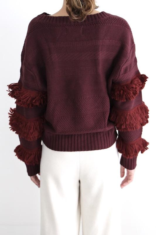 cleobella fringe bordeaux knit