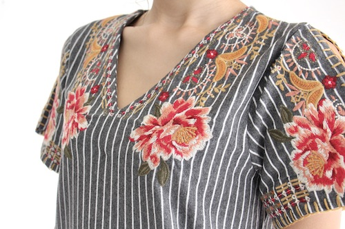 THML flower embroidery  stripe OP