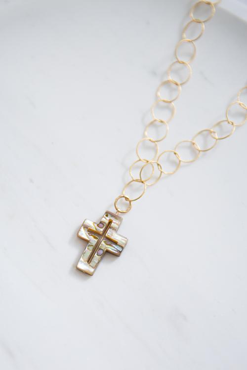 RueBelle cross×hoop necklace
