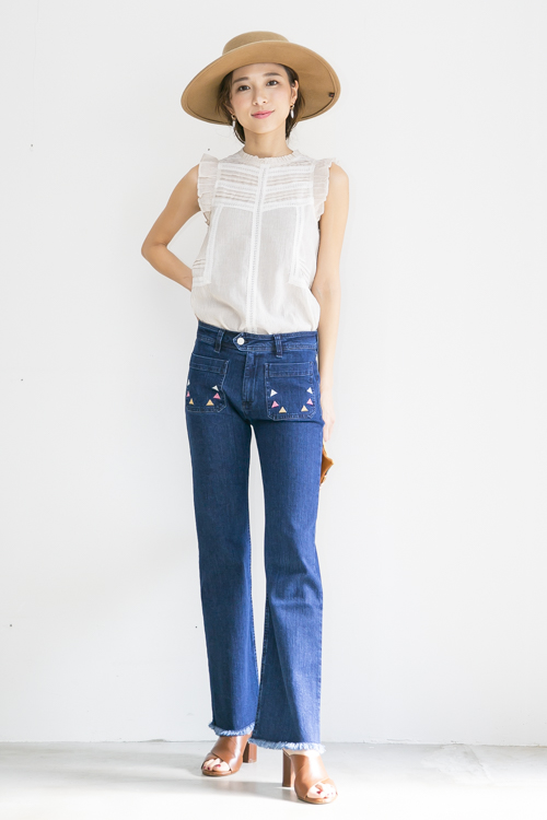 indi&cold front embroidery denim pts