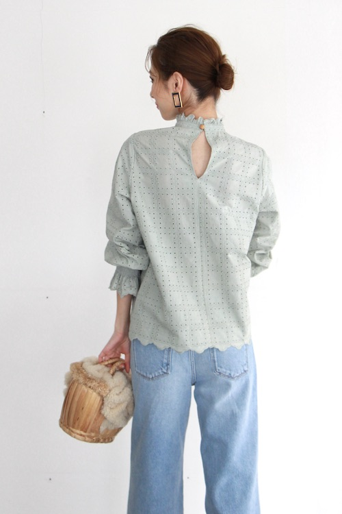 LaLaLei high-neck  Green cotton blouse