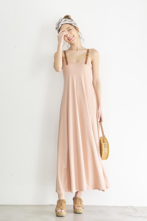 mila.vert pink tencel flare long doress