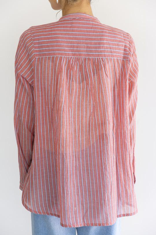 Leon&Harper  No collar RED stripe shirt TOPS