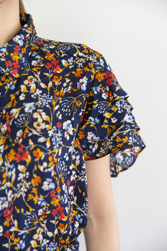 love stitch Short-sleeved flower OP