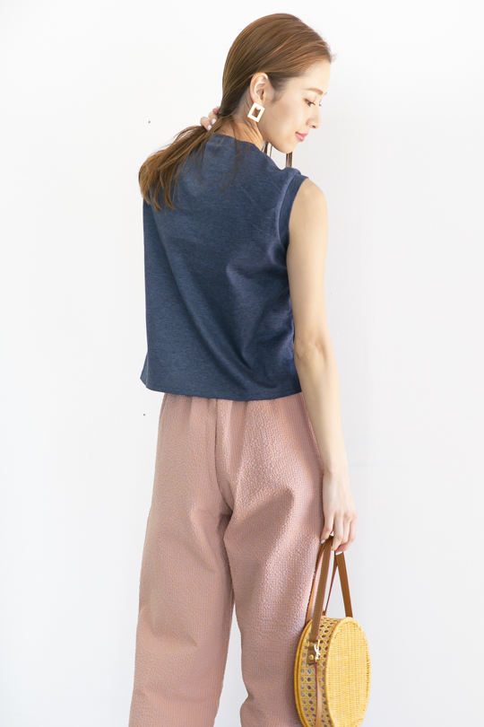 LaLaLei high-neck simple sleeveless navy TOPS