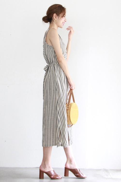 indi&cold border × stripe sleeveless gray dress