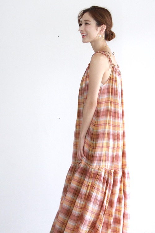 Leon&Harper organic cotton check design maxi dress