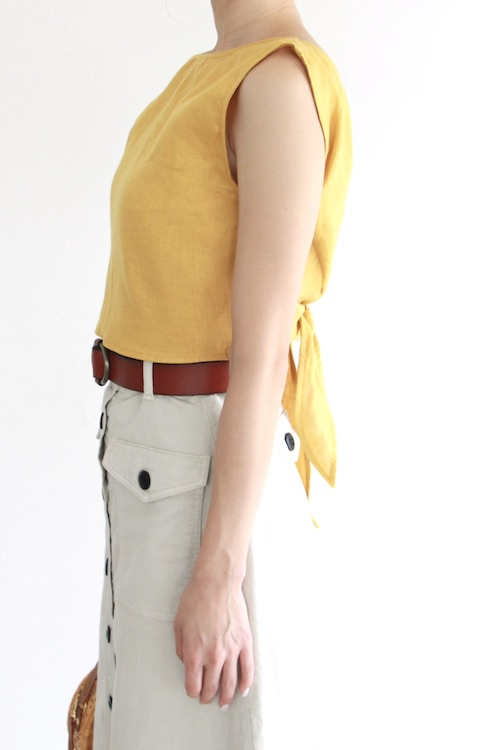 Whimsy+row linen ribbon yellow 2way TOPS
