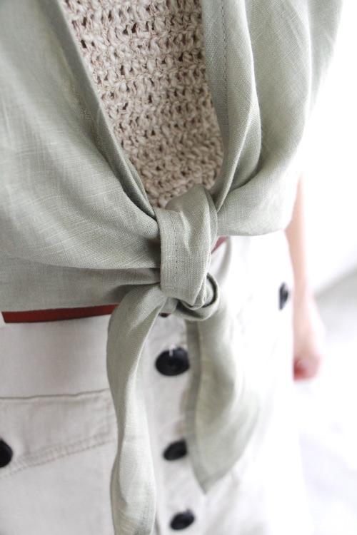 Whimsy+row linen ribbon green 2way TOPS