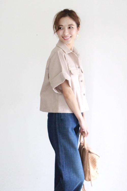 JAN 'N JUNE beige half-sleeve shirt TOPS