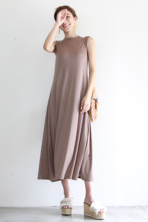 LaLaLei brown simple maxi dress