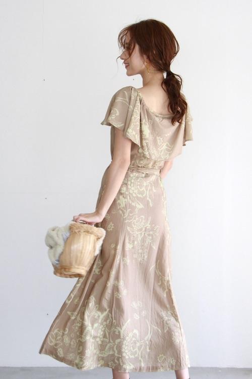 YIREH flower beige off-shoulder dress