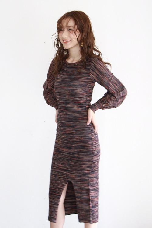 JUST mulch border puff-sleeve knit dress