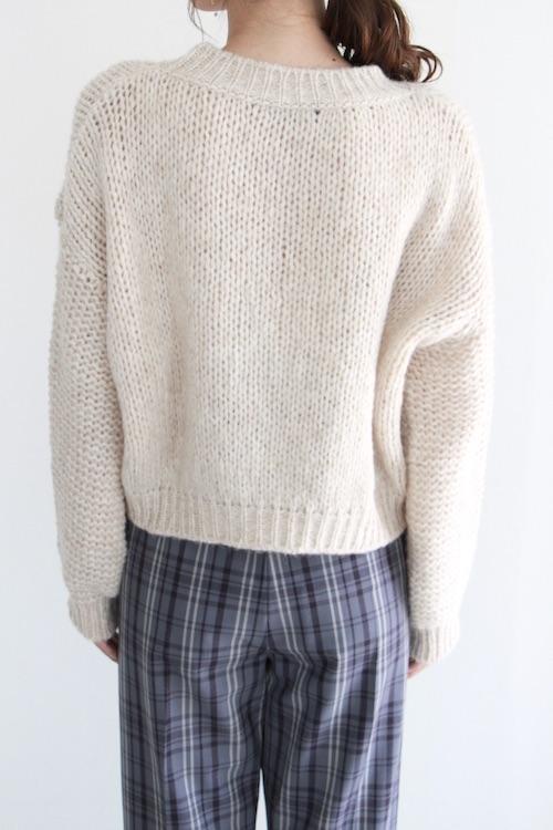 roberto collina simple crochet beige knit