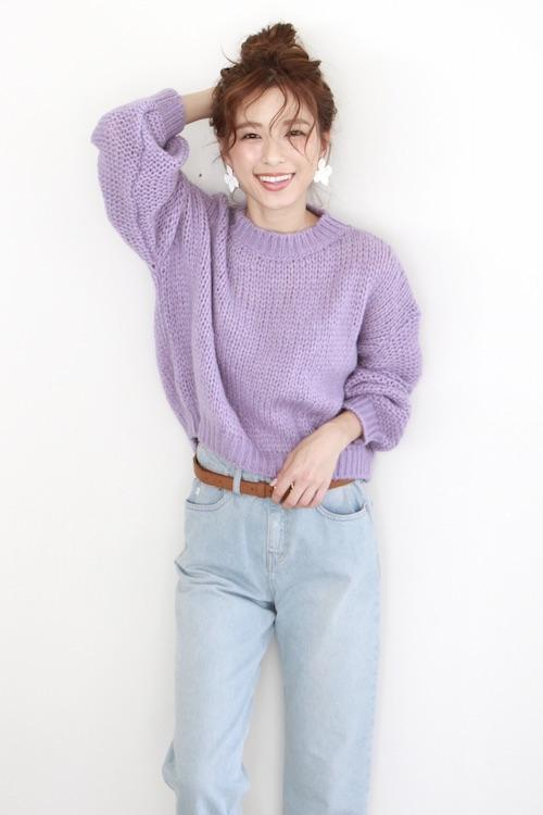 roberto collina simple crochet purple knit