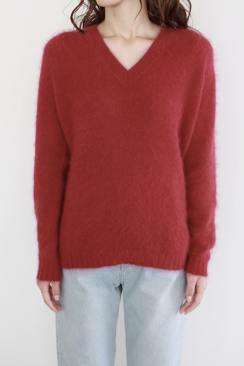 roberto collina Vneck shaggy pink red knit