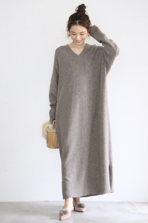 MONICA CORDERA brown Vneck knit dress