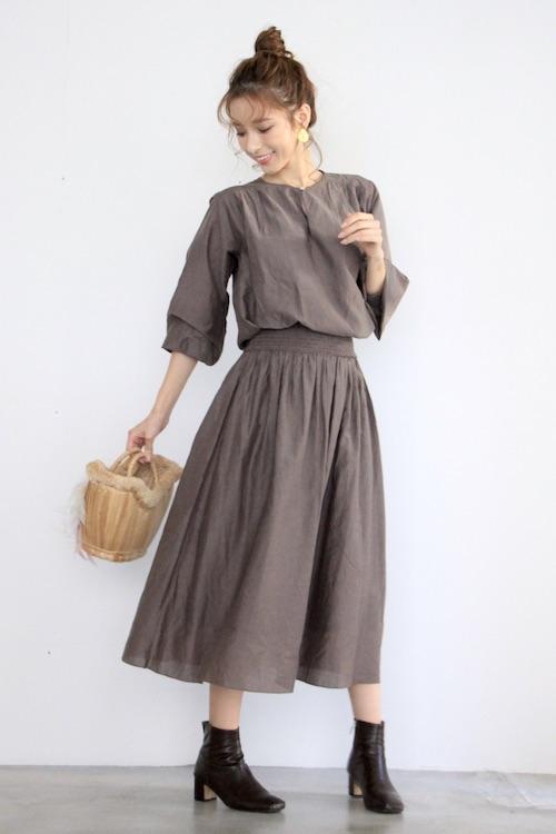 Skall Gray waist gather cotton dress