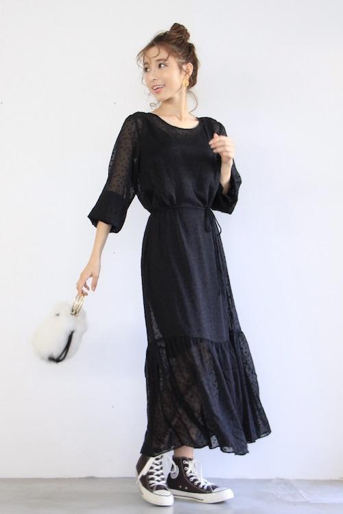 JUST dot chiffon maxi dress