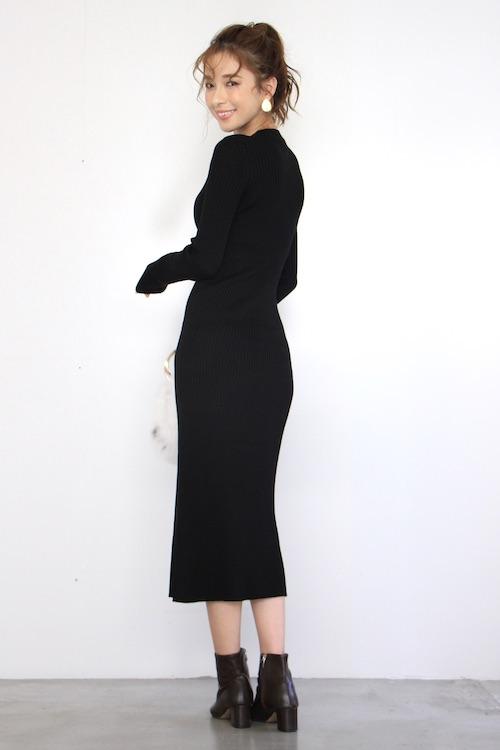 roberto collina black knit tigth dress