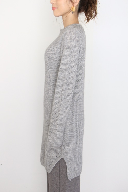 simple gray knit tunic TOPS