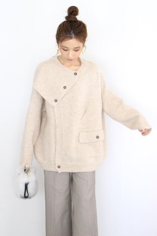 MONICA CORDERA botton design white knit coat